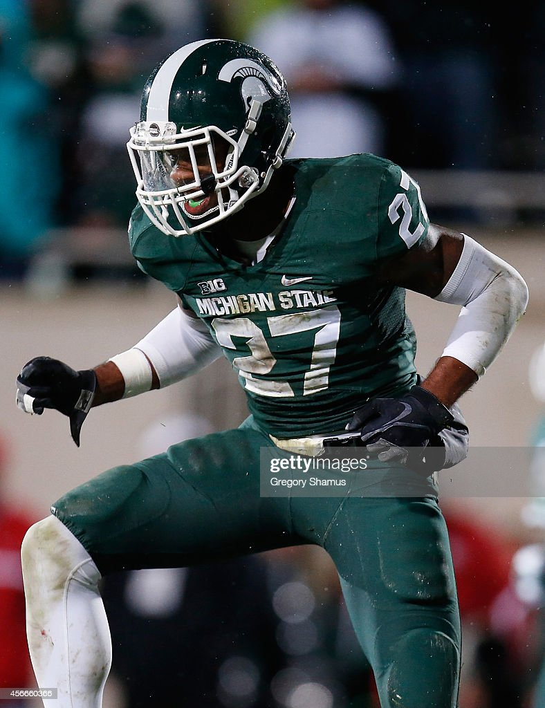 Kurtis Drummond #27 of the Michigan State Spartans reacts after almost intercepting a third quarter pass while playing the Nebraska Cornhuskers at Spartan Stadium on October 4, 2014 in East Lansing, Michigan.