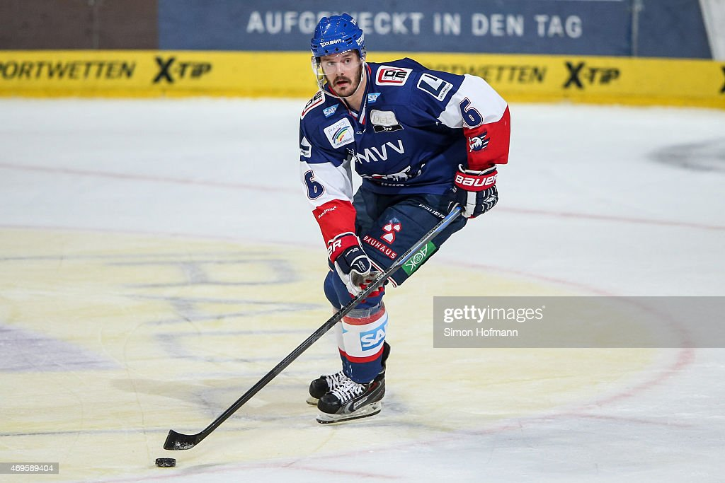 Kurtis Foster of Mannheim in action during the DEL Playoffs Final Game 1 between Adler Mannheim and ERC Ingolstadt at SAP Arena on April 10 2015 in...