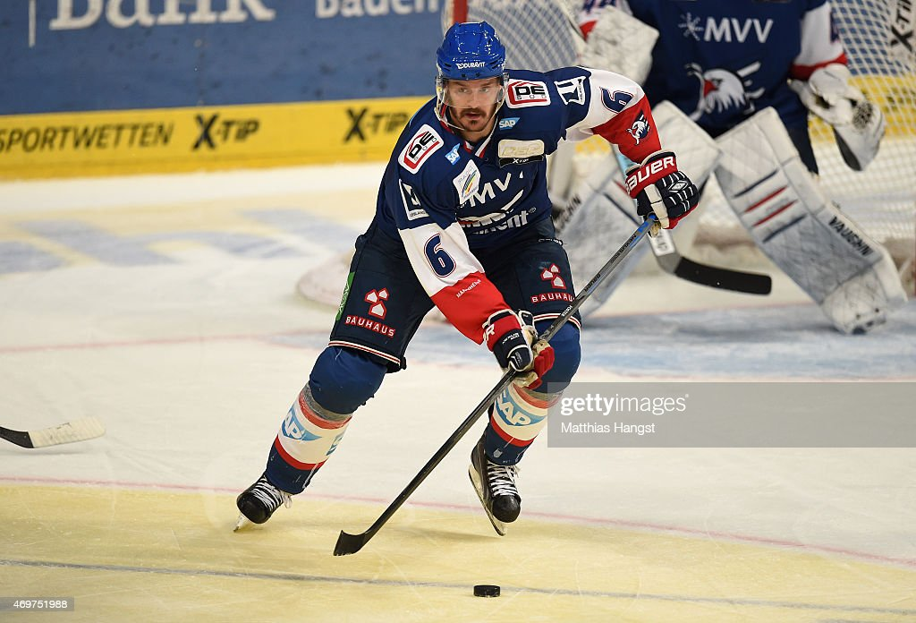 Kurtis Foster of Mannheim in action during the DEL Playoffs Final Game 3 between Adler Mannheim and ERC Ingolstadt at SAP Arena on April 14 2015 in...