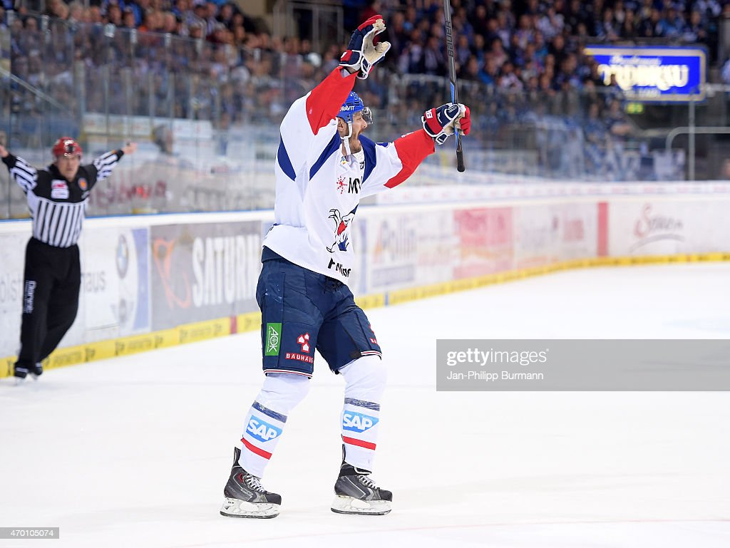 Kurtis Foster of the Adler Mannheim celebrates after scoring the 12 during the game between ERC Ingolstadt and Adler Mannheim on april 17 2015 in...