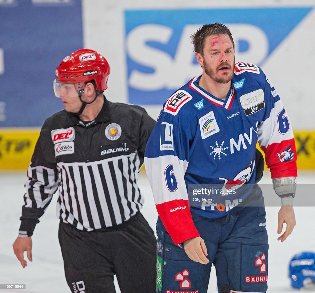 Kurtis Foster of the Adler Mannheim is hurt during the game between Adler Mannheim and ERC Ingolstadt on april 14 2015 in Mannheim Germany