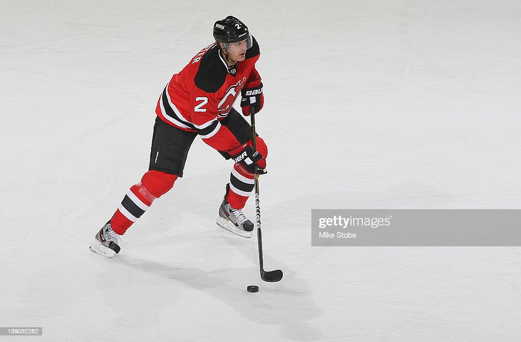 Kurtis Foster of the New Jersey Devils skates against the Pittsburgh Penguins at Prudential Center on February 5 2012 in Newark New Jersey The Devils...