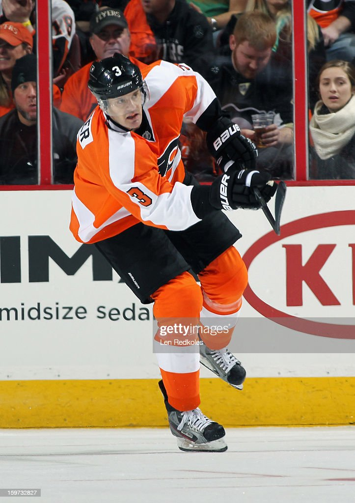Kurtis Foster #3 of the Philadelphia Flyers makes a pass out of the zone against the Pittsburgh Penguins on January 19, 2013 at the Wells Fargo Center in Philadelphia, Pennsylvania. The Penguins went on to defeat the Flyers 3-1.