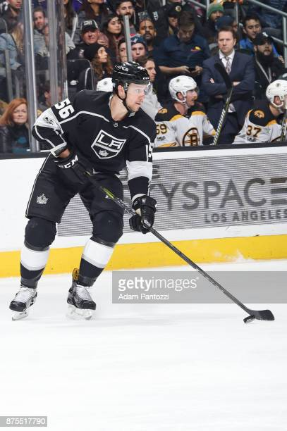 Kurtis MacDermid of the Los Angeles Kings handles the puck during a game against the Boston Bruins at STAPLES Center on November 16 2017 in Los...