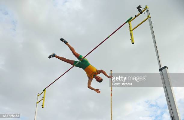 Kurtis Marschall of Australia competes in the Mens Pole Vault during the Melbourne Nitro Athletics Series at Lakeside Stadium on February 11 2017 in...