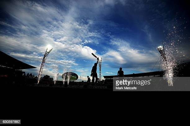 Kurtis Patterson of the Thunder and Ryan Gibson of the Thunder walk out to bat during the Big Bash League match between the Sydney Thunder and...