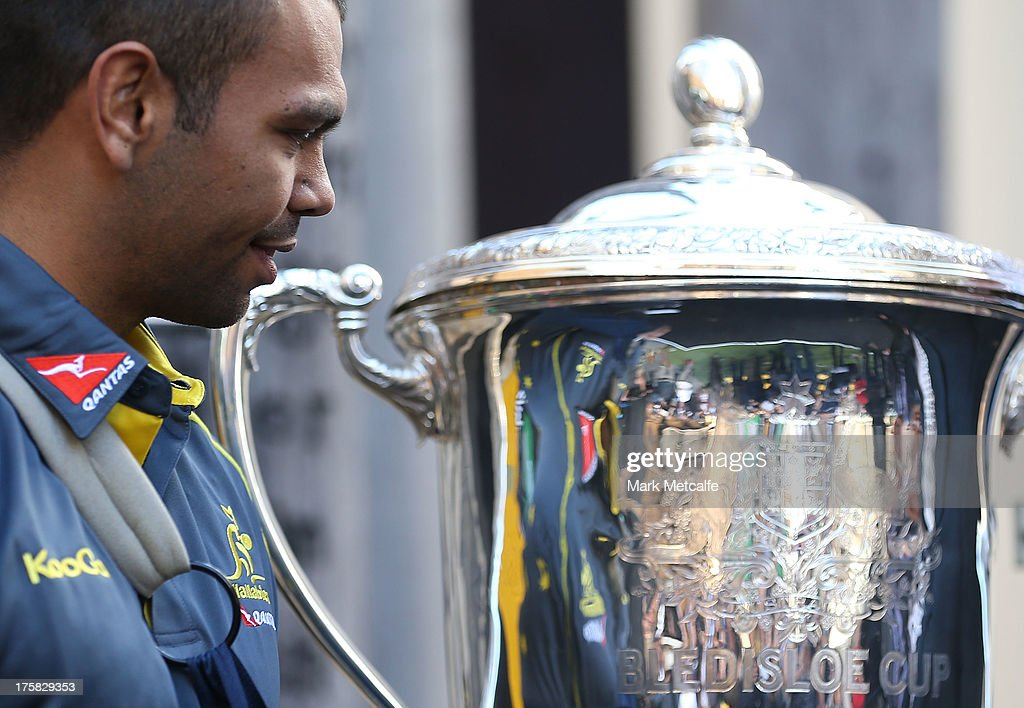Kurtley Beale looks towards the Bledisloe Cup during the Australian Wallabies Bledisloe Cup launch at the Museum of Sydney on August 9, 2013 in Sydney, Australia.