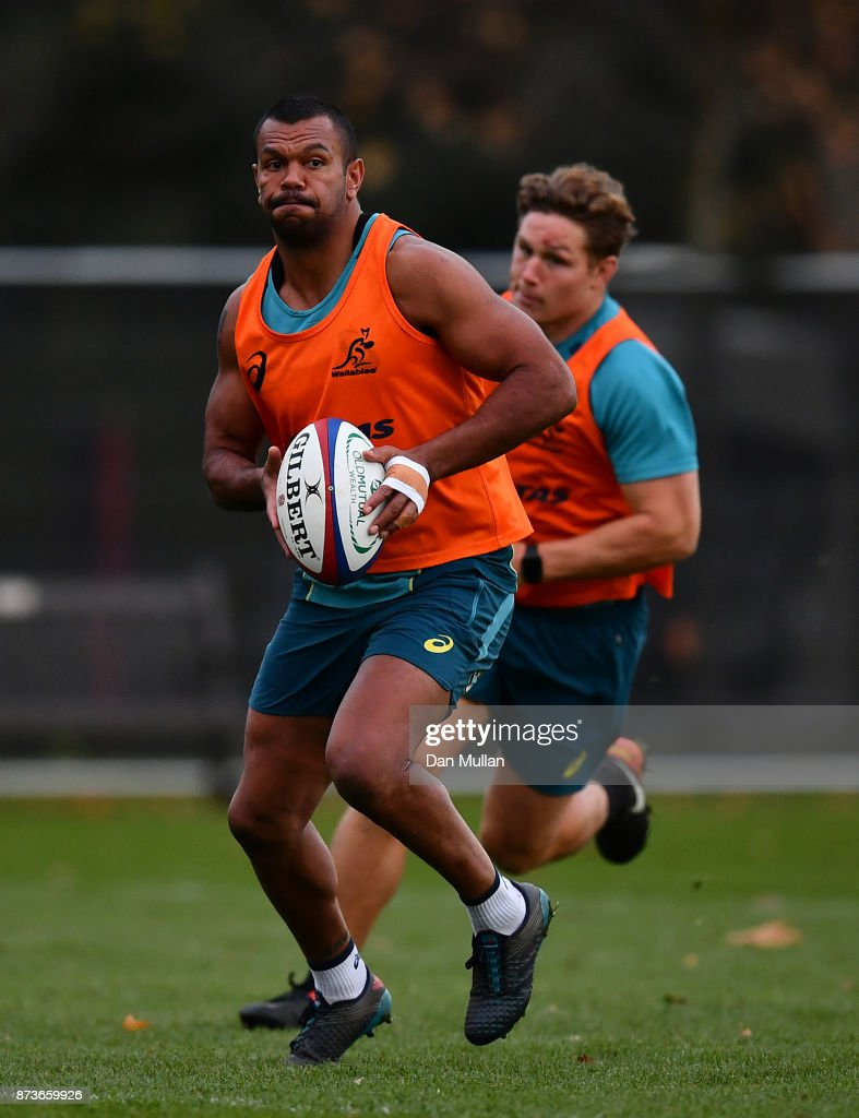 Kurtley Beale of Australia looks for a pass during a training session at the Lensbury Hotel on November 13, 2017 in London, England.