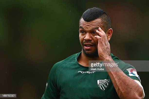 Kurtley Beale of Randwick looks on during the round nine Shute Shield match between Sydney University and Randwick at University Oval No 1 on June 1...