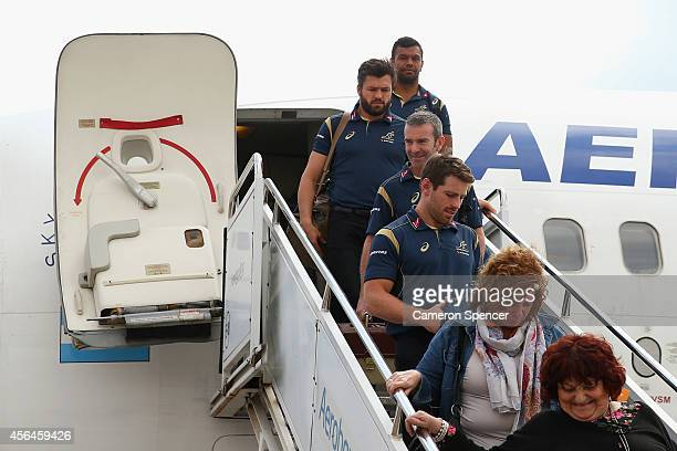 Kurtley Beale of the Australian Wallabies and team mates arrive at Mendoza Airport on October 1 2014 in Mendoza Argentina Australia are playing a...