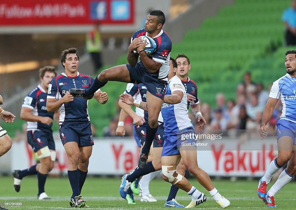 Kurtley Beale of the Rebels catches a high ball during the round one Super Rugby match between the Rebels and the Force at AAMI Park on February 15, 2013 in Melbourne, Australia.