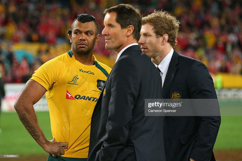 <a gi-track='captionPersonalityLinkClicked' href=/galleries/search?phrase=Kurtley+Beale&family=editorial&specificpeople=3020818 ng-click='$event.stopPropagation()'>Kurtley Beale</a> of the Wallabies, coach <a gi-track='captionPersonalityLinkClicked' href=/galleries/search?phrase=Robbie+Deans&family=editorial&specificpeople=606884 ng-click='$event.stopPropagation()'>Robbie Deans</a> and injured Wallaby <a gi-track='captionPersonalityLinkClicked' href=/galleries/search?phrase=David+Pocock&family=editorial&specificpeople=636603 ng-click='$event.stopPropagation()'>David Pocock</a> look dejected after losing the International Test match between the Australian Wallabies and British & Irish Lions at ANZ Stadium on July 6, 2013 in Sydney, Australia.