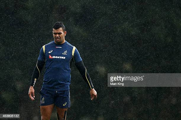 Kurtley Beale of the Wallabies looks on during an Australian Wallabies training session at St Josephs Collage on August 19 2014 in Sydney Australia