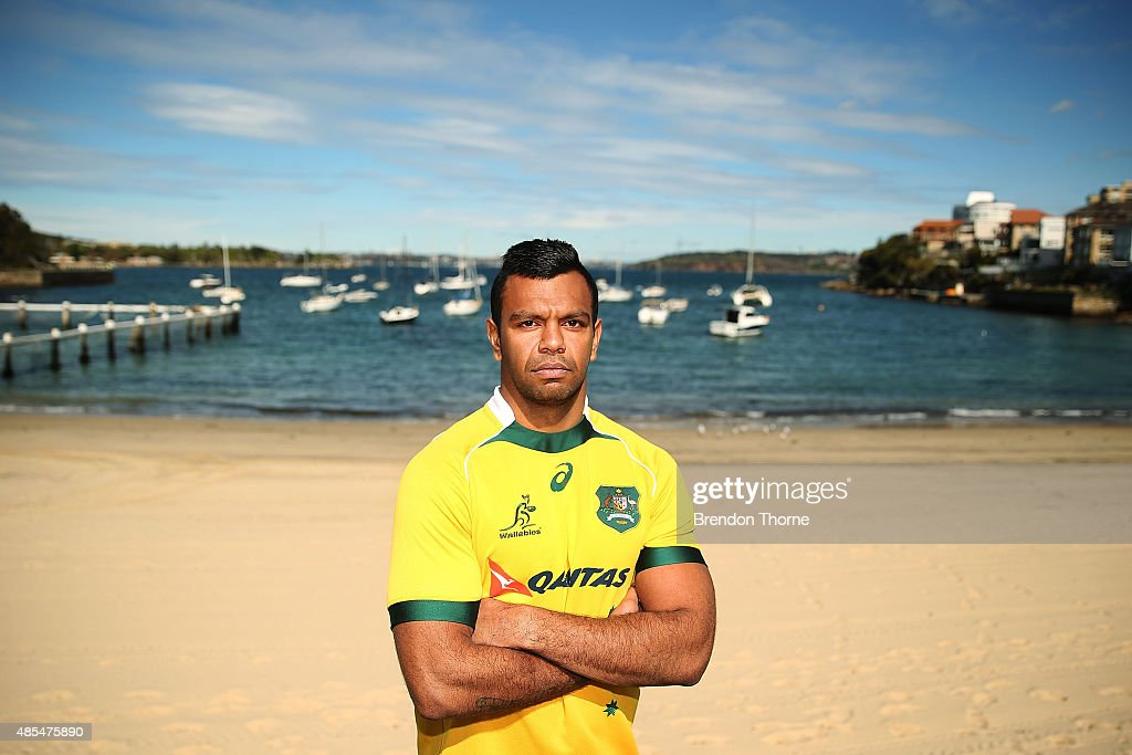 <a gi-track='captionPersonalityLinkClicked' href=/galleries/search?phrase=Kurtley+Beale&family=editorial&specificpeople=3020818 ng-click='$event.stopPropagation()'>Kurtley Beale</a> of the Wallabies poses following an Australian Wallabies training session at Little Manly Beach on August 28, 2015 in Sydney, Australia.
