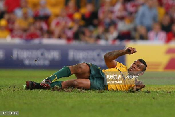 Kurtley Beale of the Wallabies slips over while kicking for a penatly goal to win during the First Test match between the Australian Wallabies and...