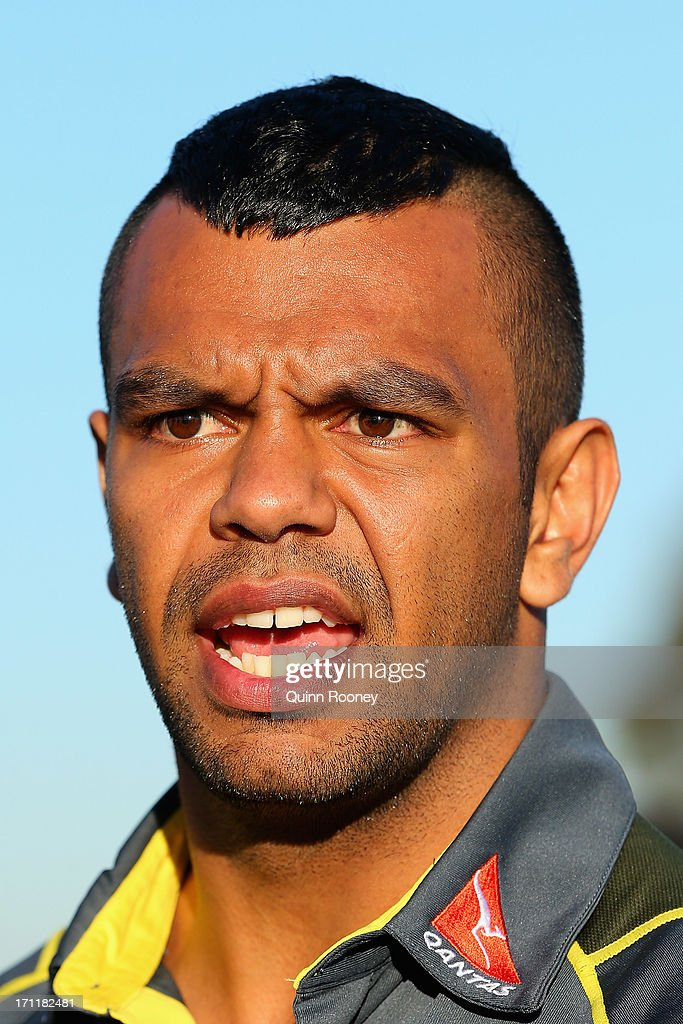 Kurtley Beale of the Wallabies talks to the media during an Australian Wallabies fan day on June 23, 2013 in Melbourne, Australia.