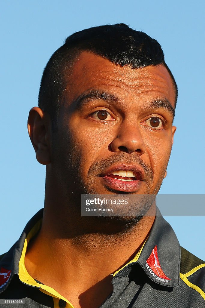 <a gi-track='captionPersonalityLinkClicked' href=/galleries/search?phrase=Kurtley+Beale&family=editorial&specificpeople=3020818 ng-click='$event.stopPropagation()'>Kurtley Beale</a> of the Wallabies talks to the media during an Australian Wallabies fan day on June 23, 2013 in Melbourne, Australia.