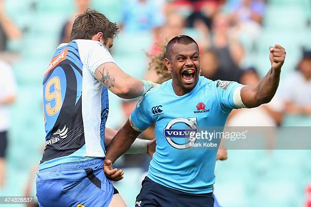 Kurtley Beale of the Waratahs celebrates scoring a try during the round two Super Rugby match between the Waratahs and the Western Force at Allianz...