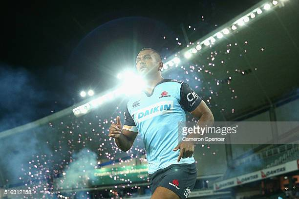 Kurtley Beale of the Waratahs runs onto the field during the Super Rugby match between the New South Wales Waratahs and the Highlanders at Allianz...