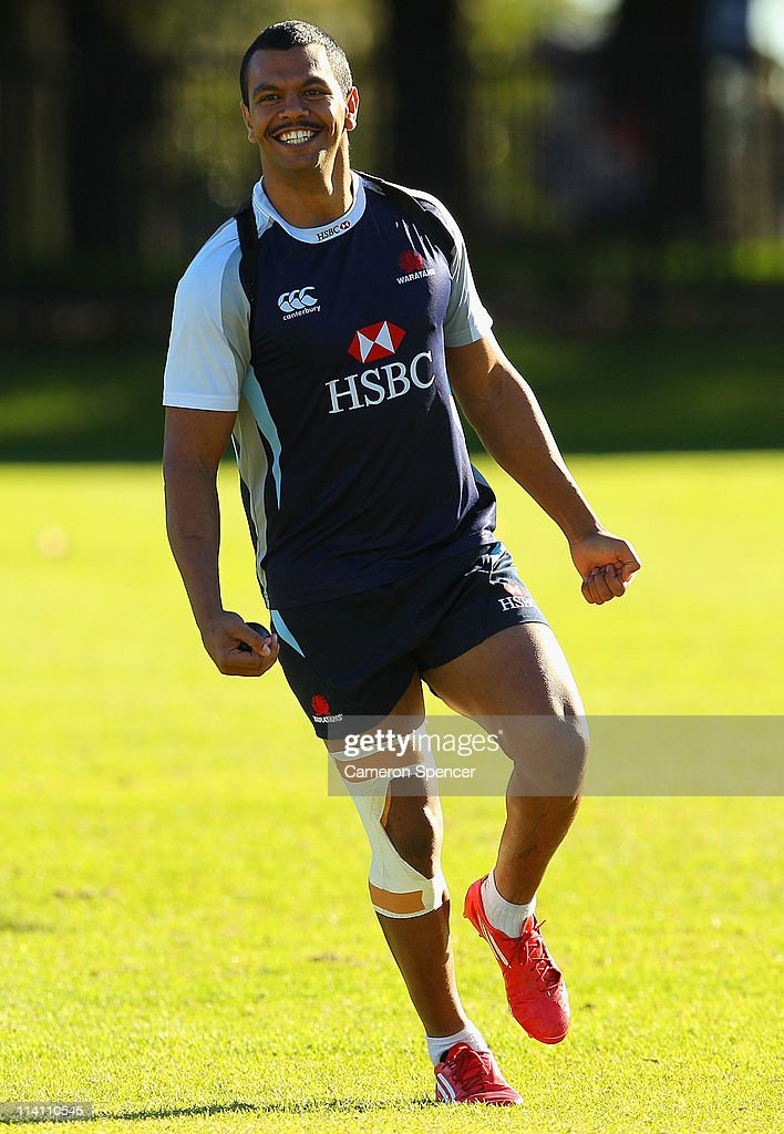 <a gi-track='captionPersonalityLinkClicked' href=/galleries/search?phrase=Kurtley+Beale&family=editorial&specificpeople=3020818 ng-click='$event.stopPropagation()'>Kurtley Beale</a> of the Waratahs smiles during a Waratahs Super Rugby training session at Moore Park on May 12, 2011 in Sydney, Australia.