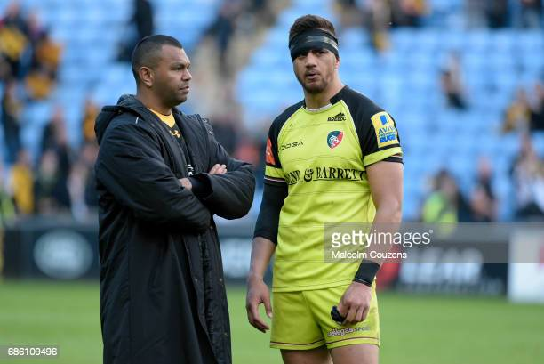 Kurtley Beale of Wasps chats to Peter Betham of Leicester Tigers following the Aviva Premiership match between Wasps and Leicester Tigers at The...