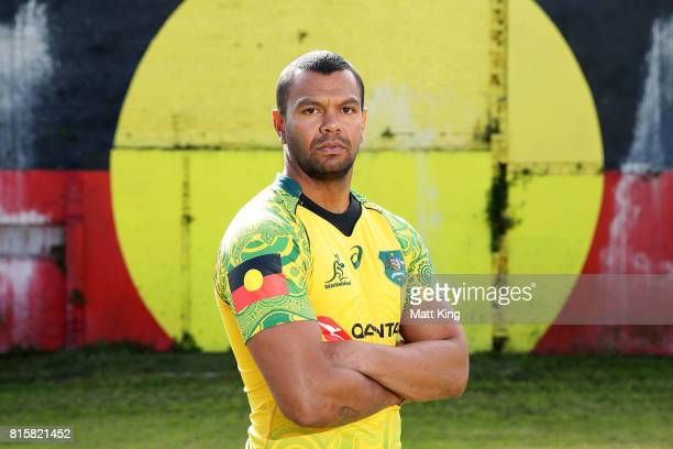 Kurtley Beale poses during the Wallabies Indigenous Jersey Launch at the National Centre of Indigenous Excellence on July 17 2017 in Sydney Australia
