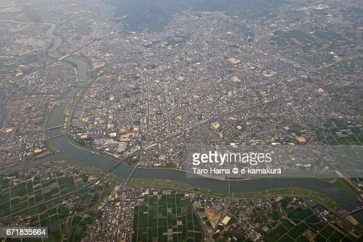 Kurume city aerial view from airplane : ストックフォト