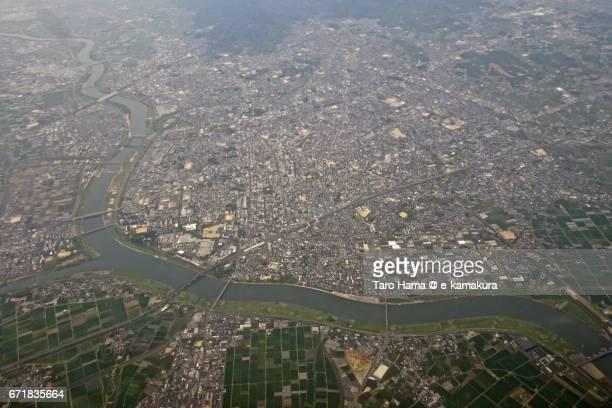 Kurume city aerial view from airplane