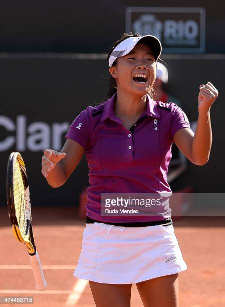 Kurumi Nara of Japan celebrates the victory and the title against Klara Zakopalova of Czech Republic during the ATP Rio Open 2014 at Jockey Club Rio...