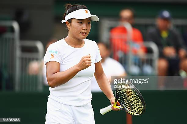 Kurumi Nara of Japan celebrates winning a point during the Ladies first round match against Madison Brengle of The United States on day one of the...