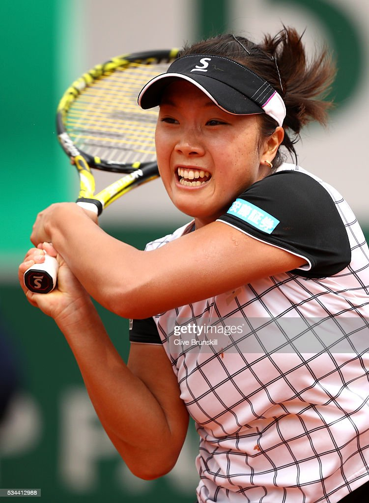 <a gi-track='captionPersonalityLinkClicked' href=/galleries/search?phrase=Kurumi+Nara&family=editorial&specificpeople=4385662 ng-click='$event.stopPropagation()'>Kurumi Nara</a> of Japan hits a forehand during the Ladies Singles second round match against Ana Ivanovic of Serbia on day five of the 2016 French Open at Roland Garros on May 26, 2016 in Paris, France.