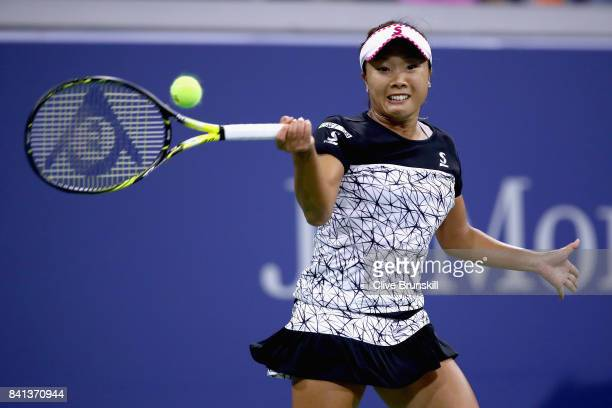 Kurumi Nara of Japan hits a return shot against Svetlana Kuznetsova of Russia during their second round Women's Singles match on Day Four of the 2017...