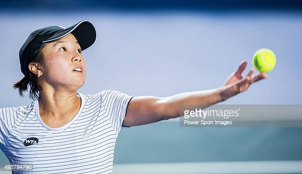 Kurumi Nara of Japan in action against Angelique Lerber of Germany during the WTA Prudential Hong Kong Tennis Open on October 15 2015 at the Victoria...