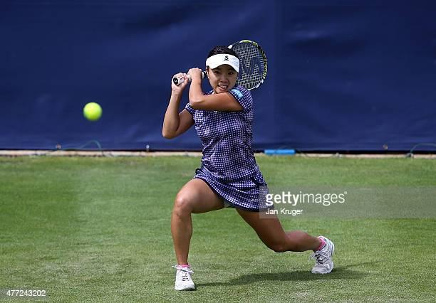 Kurumi Nara of Japan in action against Katerina Siniakova of Czech Republic on day one of the Aegon Classic at Edgbaston Priory Club on June 15 2015...