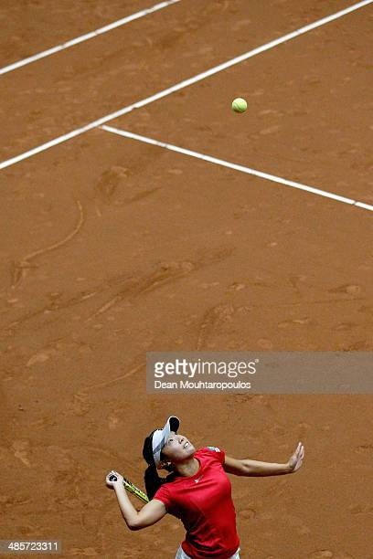 'SHERTOGENBOSCH NETHERLANDS APRIL 20 Kurumi Nara of Japan in action against Kiki Bertens of Netherlands during the Fed Cup World Group II Playoff...