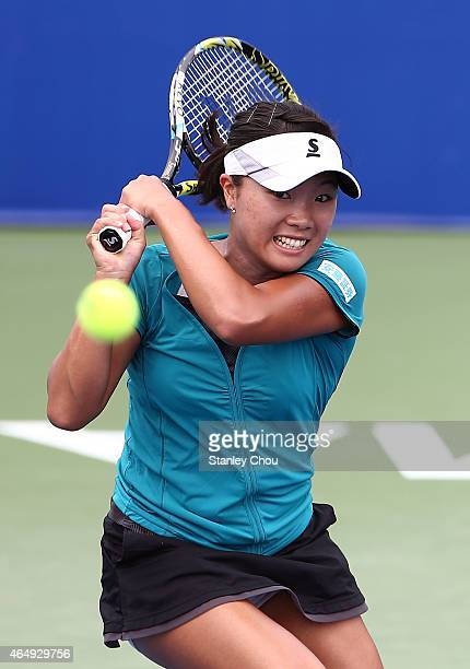 Kurumi Nara of Japan in action against Stefanie Voegele of Switzerland during day one of the BMW Malaysian Open on March 2 2015 in Kuala Lumpur...
