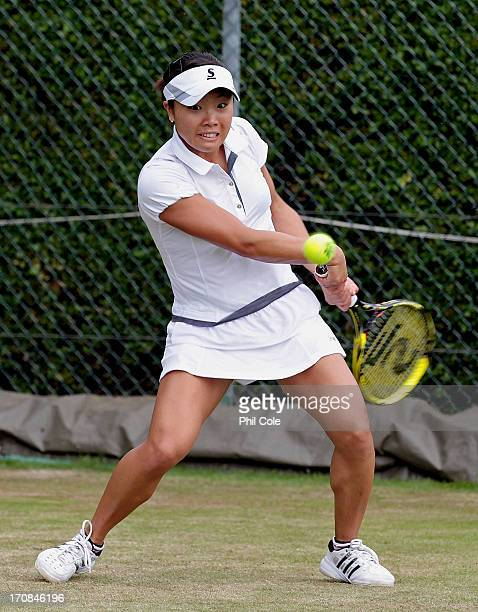 Kurumi Nara of Japan in action during a Wimbledon 2013 qualifying session at the Bank of England Ground in Roehampton on June 19 2013 in London...