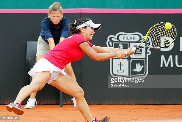 Kurumi Nara of Japan makes a shot during a tennis match between Argentina and Japan as part of the Fed Cup 2014 at Pilara Tennis Club on February 08...