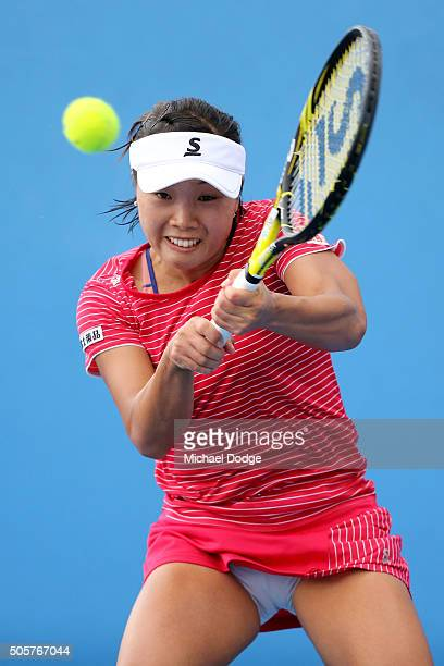 Kurumi Nara of Japan plays a backhand in her second round match against Margarita Gasparyan of Russia during day three of the 2016 Australian Open at...
