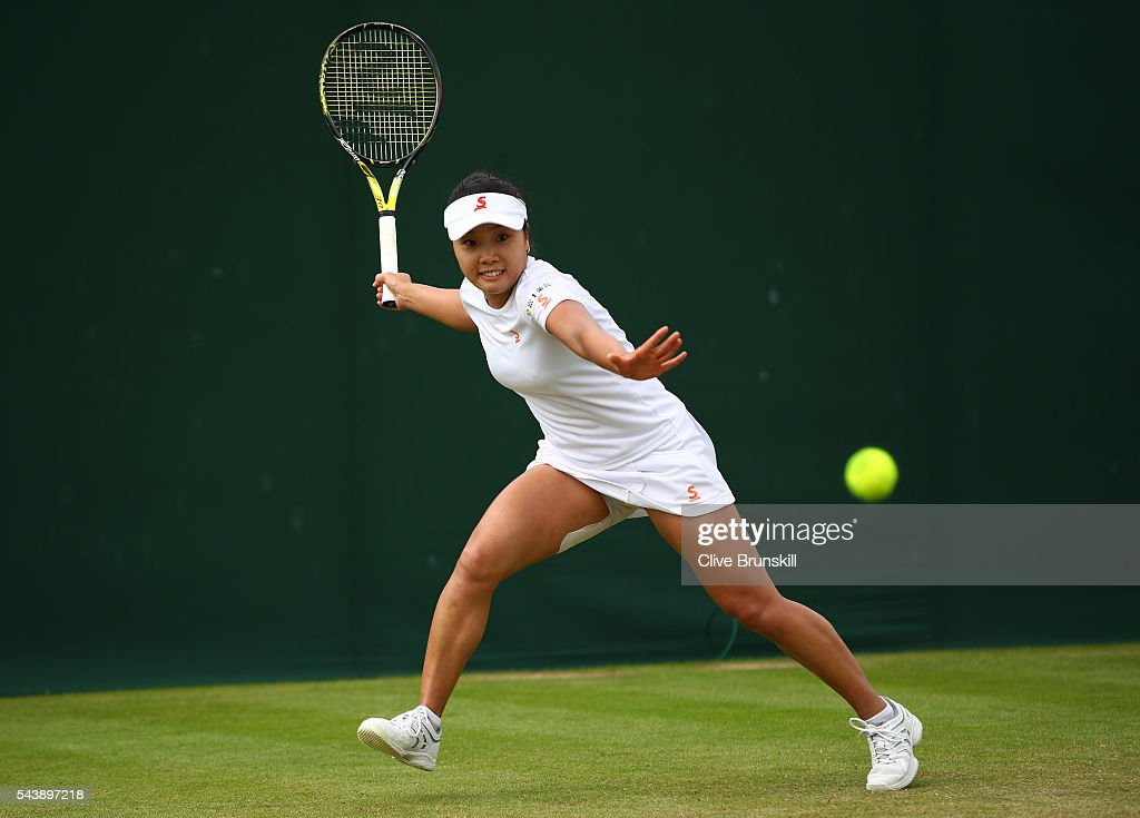 <a gi-track='captionPersonalityLinkClicked' href=/galleries/search?phrase=Kurumi+Nara&family=editorial&specificpeople=4385662 ng-click='$event.stopPropagation()'>Kurumi Nara</a> of Japan plays a forehand during the Ladies Singles second round match against Carina Witthoeft of Germany on day four of the Wimbledon Lawn Tennis Championships at the All England Lawn Tennis and Croquet Club on June 30, 2016 in London, England.