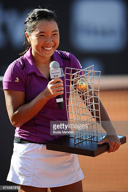 Kurumi Nara of Japan pose with her trophy after being defeated to Klara Zakopalova of Czech Republic during the ATP Rio Open 2014 at Jockey Club Rio...
