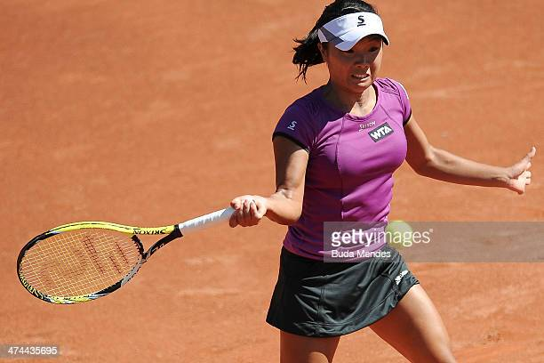 Kurumi Nara of Japan returns the ball to Klara Zakopalova of Czech Republic during the ATP Rio Open 2014 at Jockey Club Rio de Janeiro on February 23...
