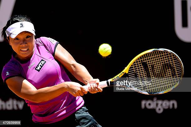 Kurumi Nara of Japan returns the ball to Lourdes Dominguez Lino of Spain during the ATP Rio Open 2014 at Jockey Club Rio de Janeiro on February 21...