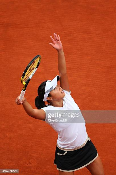 Kurumi Nara of Japan serves during her women's singles match against Jelena Jankovic of Serbia on day five of the French Open at Roland Garros on May...