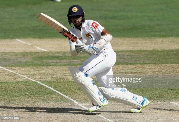 Kusal Mendis of Sri Lanka bats during Day Four of the Second Test between Pakistan and Sri Lanka at Dubai International Cricket Ground on October 9...