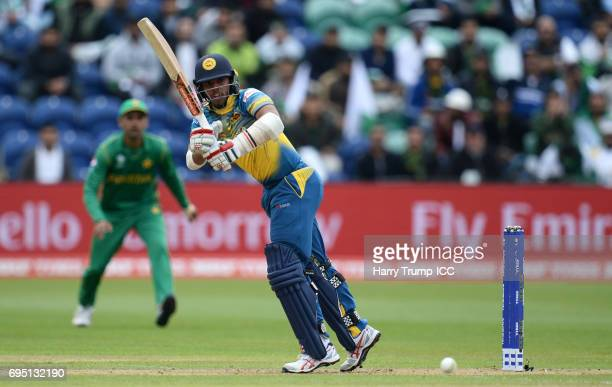 Kusal Mendis of Sri Lanka bats during the ICC Champions Trophy match between Sri Lanka and Pakistan at SWALEC Stadium on June 12 2017 in Cardiff Wales