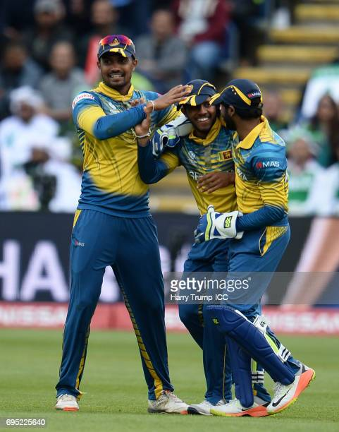 Kusal Mendis of Sri Lanka celebrates after catching Azhar Ali of Pakistan during the ICC Champions Trophy match between Sri Lanka and Pakistan at...