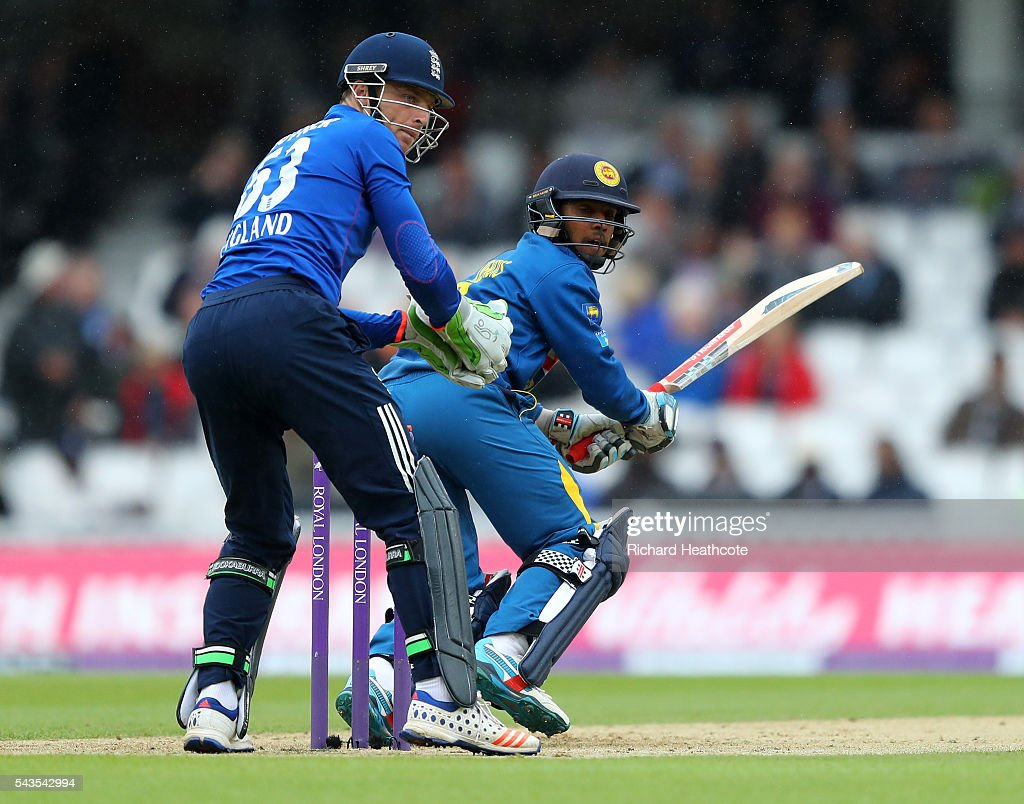 Kusal Mendis of Sri Lanka clips the ball away to score during the 4th Royal London ODI between England and Sri Lanka at The Kia Oval on June 29, 2016 in London, England.