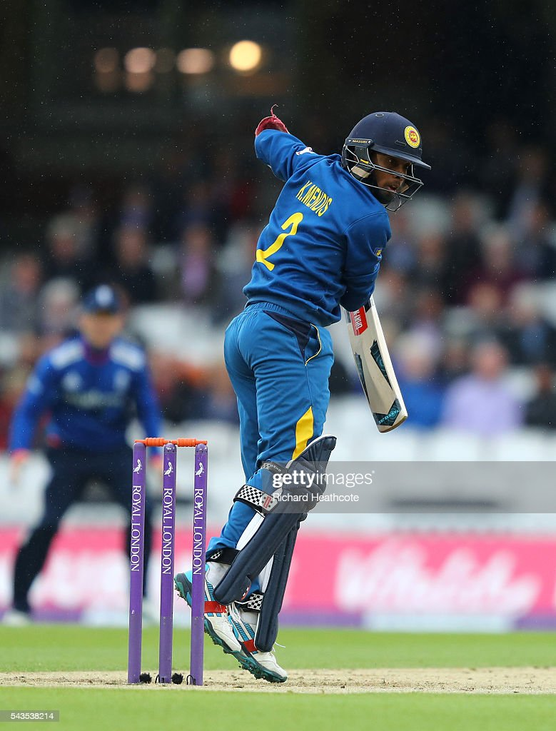 Kusal Mendis of Sri Lanka cuts the ball to score during the 4th Royal London ODI between England and Sri Lanka at The Kia Oval on June 29, 2016 in London, England.