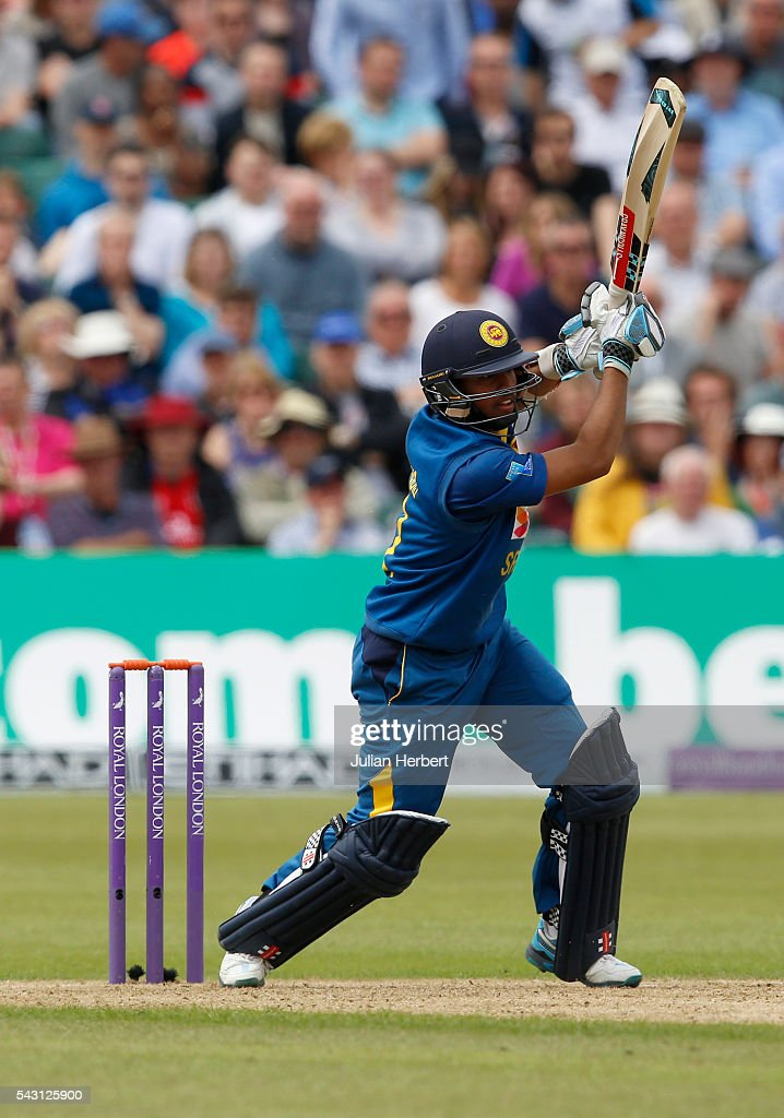 Kusal Mendis of Sri Lanka hits out during The 3rd ODI Royal London One-Day match between England and Sri Lanka at The County Ground on June 26, 2016 in Bristol, England.